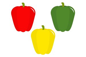 Pepper icon set. Green, red, yellow