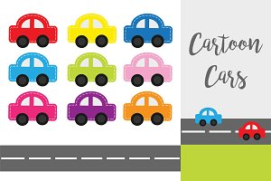Cartoon car set with dash line, road