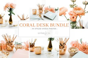 Coral Desk Styled Stock Photo Bundle