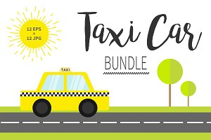 Taxi car cab icon big bundle