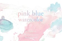 pastel pink & blue watercolor set
