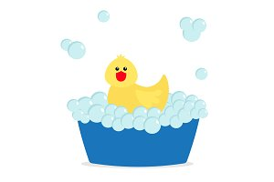Bubble bath. Yellow rubber duck