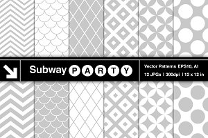 Vector Retro Geometric Gray Patterns