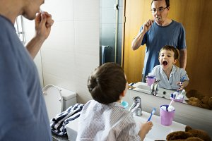 Family tooth brushing