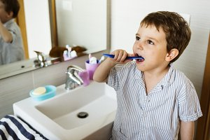 Little boy tooth brushing