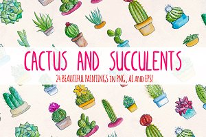 24 Cactus and Succulent Watercolors