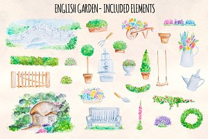 27 English Garden Watercolor Graphic