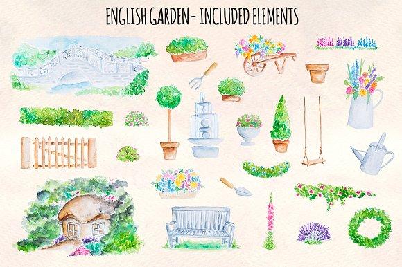 27 English Garden Watercolor Graphic