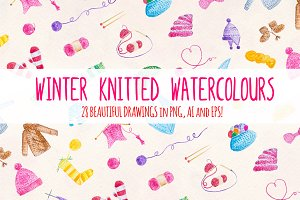 28 Knitting Watercolor Graphics