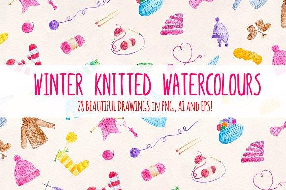28 Knitting Watercolor Graphics