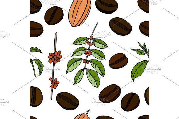 Vector Seamless Pattern Of Cocoa Beans