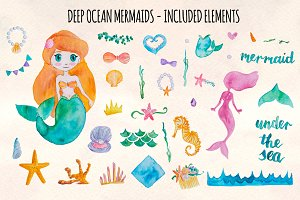 37 Mermaid and Ocean Watercolors
