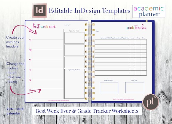 Academic Planner Indesign Template Stationery Templates Creative Market