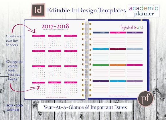 academic planner indesign template stationery templates