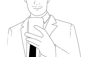 Vector of businessman using phone