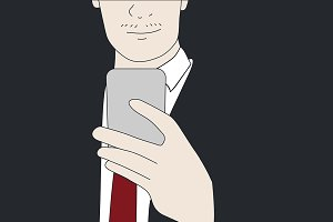 Vector of businessman usine phone