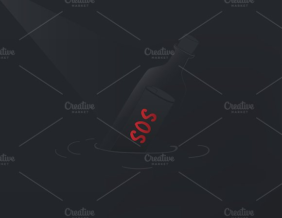 Vector Of SOS Message In The Bottle