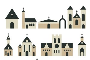 Christian church vector set