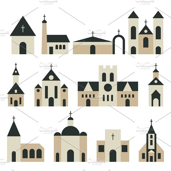 Christian Church Vector Set
