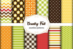 Set of 12 cute seamless Country Fall patterns with primitive flowers, polka dots, stripes, chevron and plaid