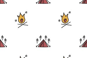 Illustration drawing of camping icon