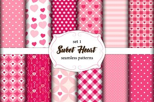 Cute set of scandinavian Sweet Heart seamless patterns with fabric textures
