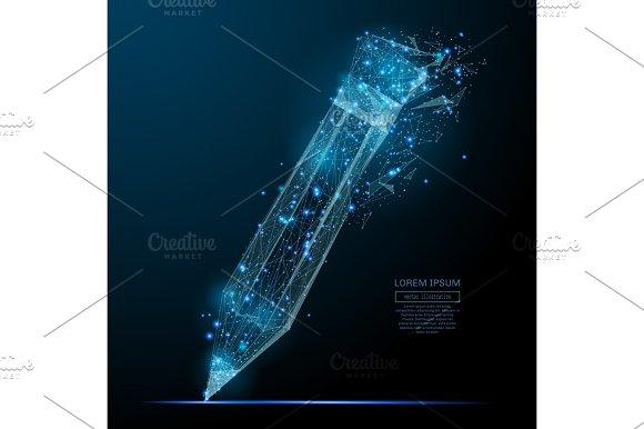 Pancil Low Poly Blue