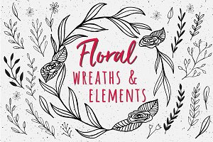 Hand Drawn Floral Wreaths + Elements