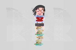 Girl studying on heap of books
