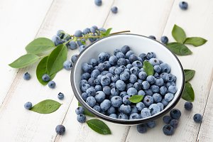 Fresh ripe blueberries bowl