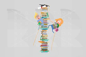 Students climbing mountain of books