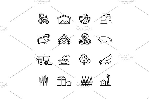 Farm Harvest Linear Vector Icons Agronomy And Farming Pictograms Agricultural Symbols