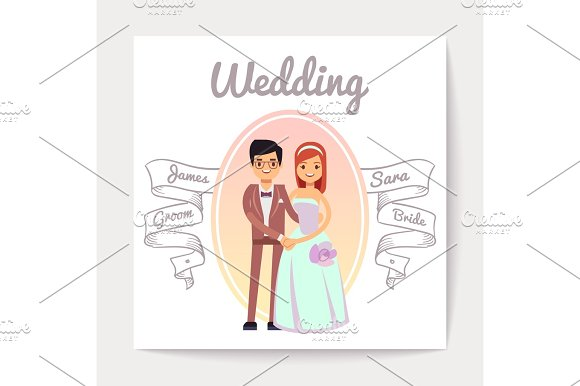 Cartoon Married Or Engaged Couple Bride And Groom Wedding Vector Card
