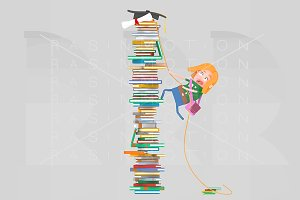 Girl climbing mountain of books