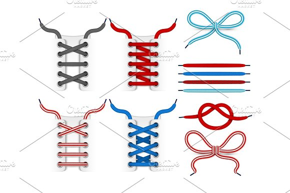 Shoelace Tying Vector Icons