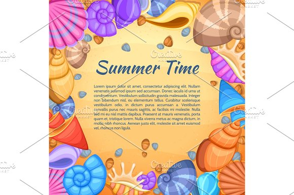 Summer Travel Vector Card With Cartoon Sea Shell Border