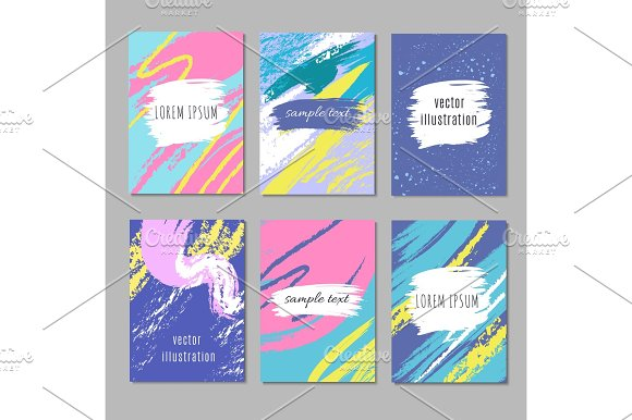 Abstract Party Card With Pastel Art Brush Strokes Creative Felt Vector Backgrounds Collection