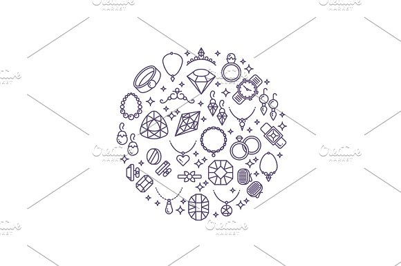Jewelry And Gemstones Line Vector Icons Luxury Concept For Jewelry Store