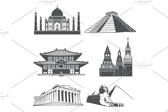 Travel Silhouette Landmarks With Famous World Monuments Vector Set