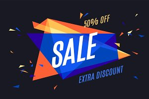 Colorful banner with text Sale