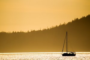 Sail boat in evening light
