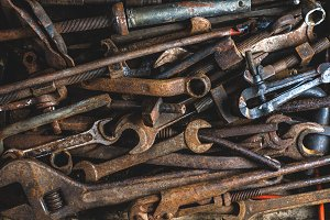 Background of old rusty tools