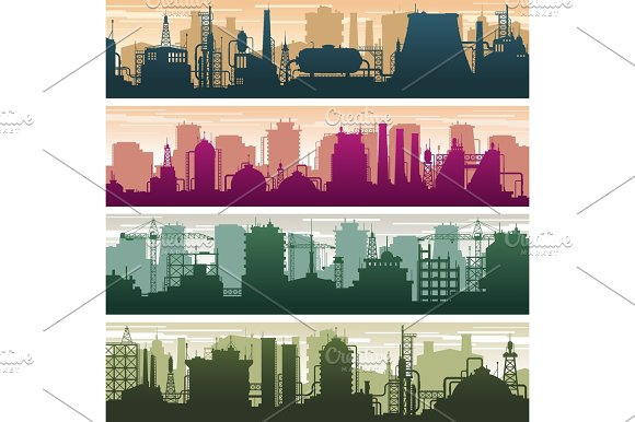 Modern Building Of Gas And Oil Station Power Plant And Factory Silhouettes Industry Landscapes Vector Set