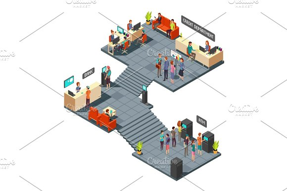 Commercial Bank Office 3D Isometric Interior With Business People Inside Banking And Finance Vector Concept