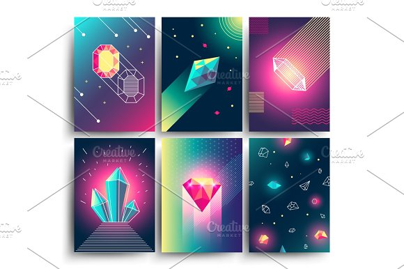Abstract Trendy Vector Cosmic Posters With Crystal Gems And Pyramid Geometric Shapes Neon Galaxy Backgrounds In 80s Style
