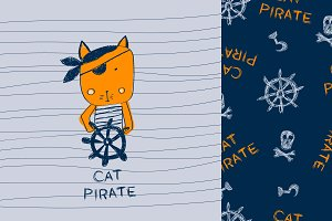 cat pirate. baby prints