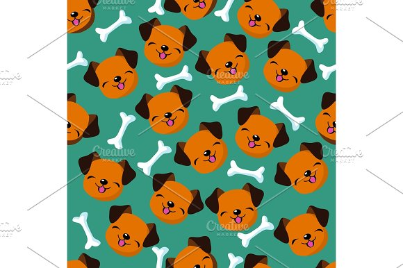 Happy Dog Face Seamless Vector Pattern