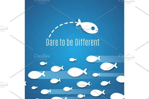Dare To Be Different Success Solution Vector Concept With Small Fishes Group