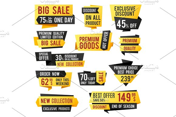 Price Tag Promo Banners And Discount Labels Business Presentation Design Vector Elements