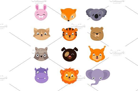 Cute Baby Animal Faces Vector Set